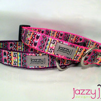 Alluring Aztec Pink and Purple Dog Collar
