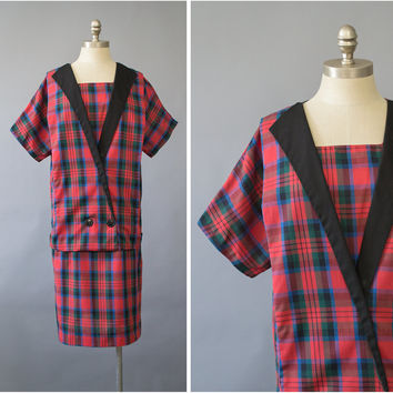Vintage 80s Dress / 1980s Red Plaid Dress / 1920s Style Flapper Dress / Oversize Short Sleeve Sailor Collar Midi Dress / Nautical Dress M/L