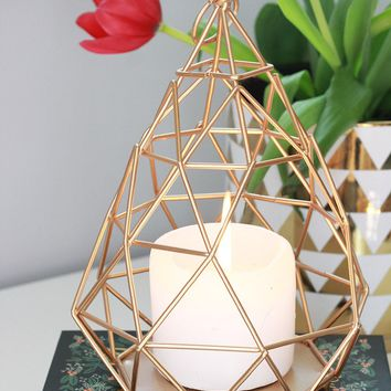 "Gold Geometric Metal Wire Candle Lantern or Terrarium - 8.5"" Tall x 6"" Wide"
