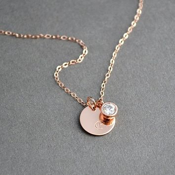 Initial Disc Necklace Monogram, Personalized Necklace, CZ Diamond Necklace, Gold Disc Necklace, Delicate Disc Necklace, Minimalist Necklace
