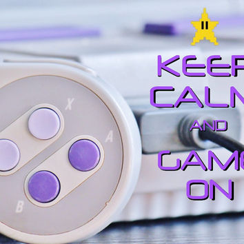 Video Game Art, Keep Calm and GAME ON Poster, Geek Nerd Prints, Super Nintendo SNES