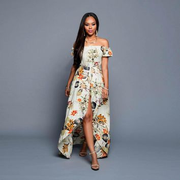 Beach Fashion Off Shoulder Short Sleeve Flower Print Irregular Maxi Dress