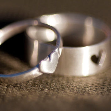 Tiny Heart Couple Rings in Sterling Silver by anilani by Anilani