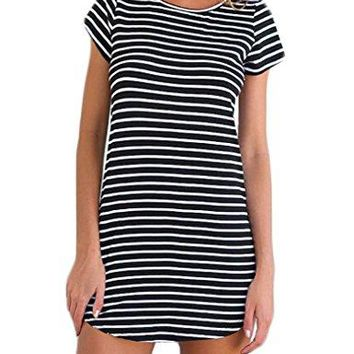 OURS Womens Crew Neck Short Sleeve Striped Loose TShirt Mini Dress