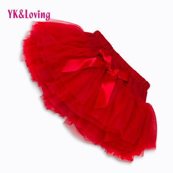 New Baby Girls Ruffle Bloomers TuTu Skirt Ball Gown Rose Red Fuffy Pettiskirt Baby 6 Tulle Layered Children Clothing Set Outfit