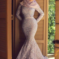Muslim Long Sleeves Lace Prom Dresses 2015 Vintage Dubai Arab Mermaid Evening Gowns with Appliques and Veil Special Design