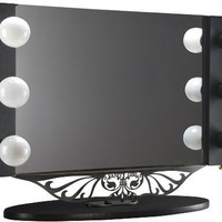 "Starlet Table Top Lighted Vanity Mirror 34"" x 23"" - Taupe Frame, Black Surface"