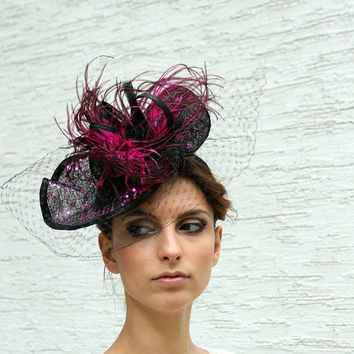 Black Hot Purple Kentucky derby veiled fascinator, Royal Ascot Hat,  Melbourne cup headpiece, Haute Couture hat, wedding and cocktail hat
