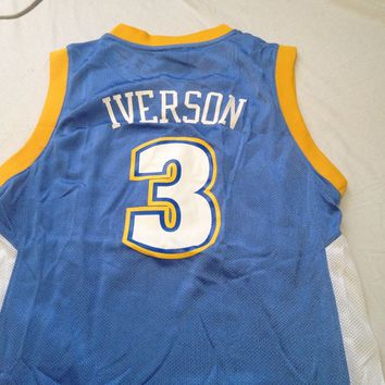 NWT YOUTH ALLEN IVERSON #3 RETRO DENVER NUGGETS ADIDAS SKY BASKETBALL JERSEY