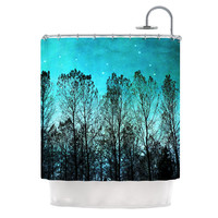 "Sylvia Cook ""Dark Forest"" Blue Trees Shower Curtain"