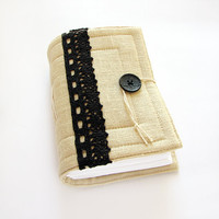 Handmade Linen Journal with black cotton lace, blank pages, sketchbook, diary