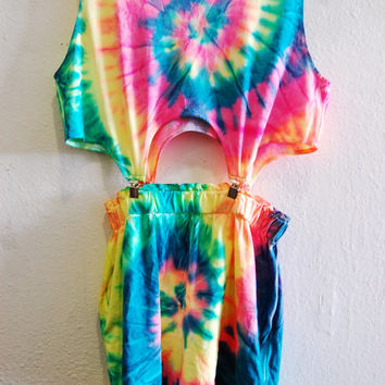 90s Psychadelic Neon Rainbow Tie Dye Matching Crop Tank Top Shorts Garter Romper Set Medium