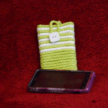Crochet Cell  Phone Cozy/ Smart Phone Cozy - protection sleeve in Hot Green with White stripes