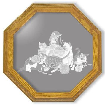 """""""Kitten Chaos"""" Cat Etched Glass Art Mirrors"""