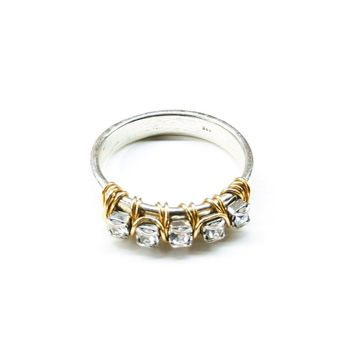 Gold Filled Wire Wrap Silver Hammered Crystal AB Rhinestone Bling Ring