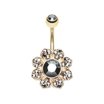 Black and Gold Avens Flower Sparkle Belly Button Ring 14ga Navel Ring Body Jewelry