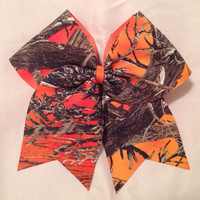 Orange camouflage cheer bow