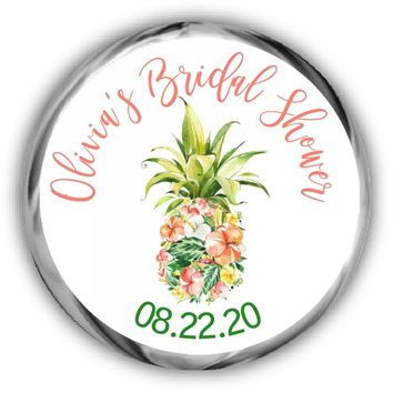 Tropical Bridal Shower Kisses Stickers