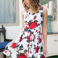 Rose Print Fit and Flare Dress