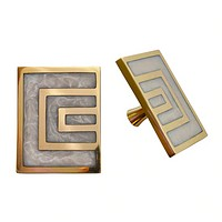 Worlds Away Moira Geometric Brass Knob Pair