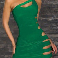 One Side Strap Bodycon Dress with Side Cut-out
