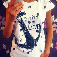 Anchor Letters Print Short Sleeve Graphic T-shirt