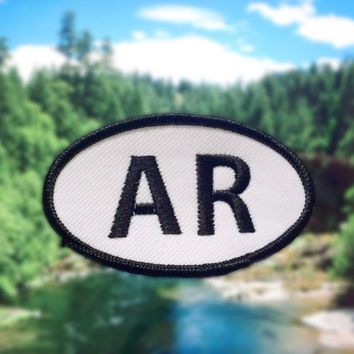 "Arkansas AR Patch - Iron or Sew On - 2"" x 3.5"" - Embroidered Oval Appliqué - The Natural State - Black White Hat Bag Accessory Handmade USA"