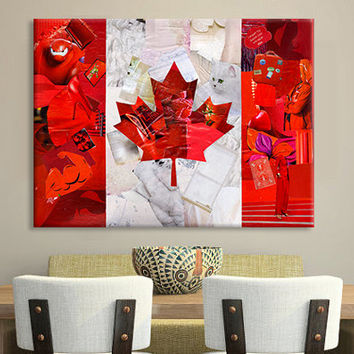 Canada art, Canada flag, Canada day, Canadian flag, Canadian Maple leaf, Mixed Media collage art, living room decor, illustration print