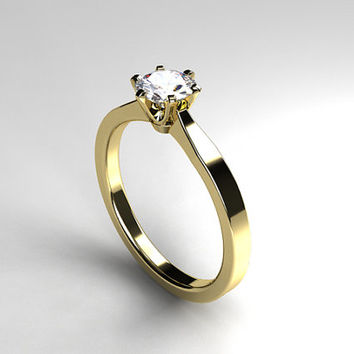 Diamond solitaire engagement ring, white gold ring, yellow gold, diamond engagement, simple, thin ring, simple diamond ring, crown setting