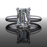 Forever Brilliant Moissanite Engagement Ring Emerald Cut 1.05 CTW