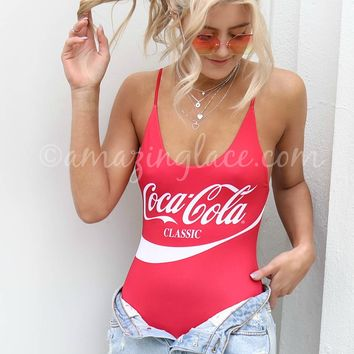 CHASER Coca-Cola Scoop Back One Piece Swim
