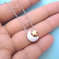 Silver, Moon, And, Gold, Star, Necklace, Best, Friend, Necklace, Girl, Friend, Gift, Birthday, Necklace, Christmas, Necklace, Gift, Jewelry