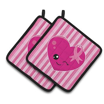 Breast Cancer Awareness Ribbon Heart Pair of Pot Holders BB6982PTHD