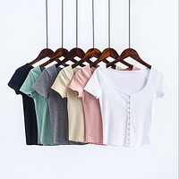 Solid Color Fashion Sexy Low Collar Single Row Buckle Short Sleeve T-shirt Tops