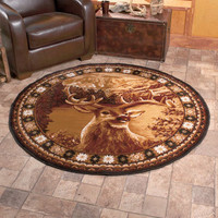"5' X 2"" Round Wildlife Buck Deer Area Rug Hunter Lodge Living Room Home Decor"