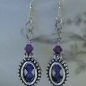 Peacock Swarovski Crystal Dangle Earrings