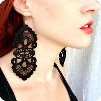 Lace Earrings - Black Lace Earrings - Vintage Style Earrings - Statement Earrings - Victorian Inspired - Bohemian Jewelry