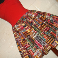 Full Skater / Circle Style Book Lovers Mini Skirt - Library Book Print Skirt - Geek Clothing -  Fits to Plus Sizes