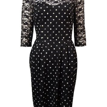 Betsey Johnson Women's Polka Dot Lace Pleated Dress