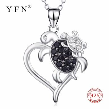 PYX0145 YFN 925 Sterling Silver Lovely Pendant Turtle Mother & Child Love Heart Pendants Necklaces New Arrival Jewelry For Women