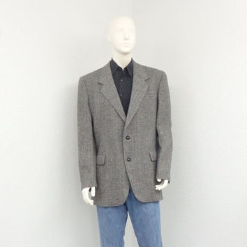 Vintage 80s Pendleton Wool Gray Tweed Blazer Jacket, Elbow Patch Blazer, Sport Coat, Mens Blazer, Tweed Jacket