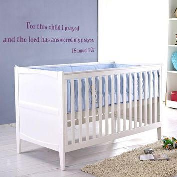 For this child I have prayed - 1 SAMUEL 1:27 Christian Wall Decal