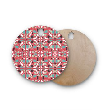 "Miranda Mol ""Stained Glass Pink"" Round Wooden Cutting Board"
