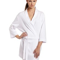 Seven Apparel 00134 Hotel Spa Collection Kimono Knit Cotton Robe, White,One size fits most