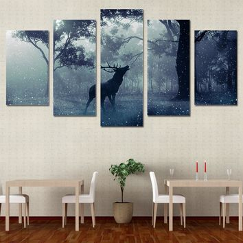 Winter Scene Snow animal deer forest Wall Art Print Canvas Panel Print Picture