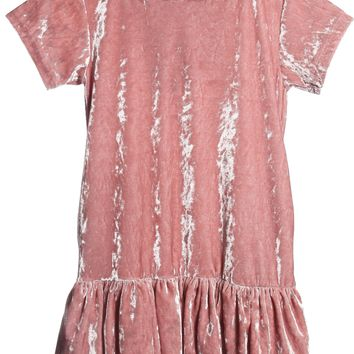 Girls Rose Pink Velvet Hoodie Dress w. Pockets 2-12 & Plus 14x-18x