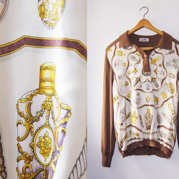 Rare HERMES paris cashmere with Silk Print sweater Gorgeous  Vintage 1980'S Size 46 Free Shipping