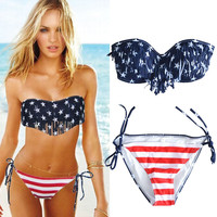 Women Sexy Bikini Set Padded Push up Swimwear USA Flag Fringe Tassel Swimsuits