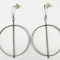 Big Silver Hoop Earrings Modernist Long Dangles Geometric Circles and Lines Unique Outstanding Design Unpolished Condition Vintage Very Good