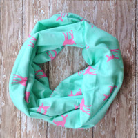 Mint and Pink Fawn Infinity Scarf. Mint Scarf, Pink Scarf. Toddler and Baby Infinity Scarf